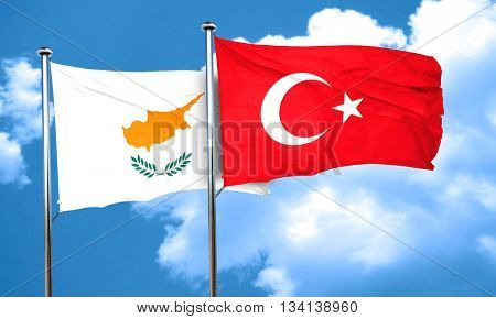 Cyprus flag with Turkey flag, 3D rendering