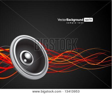 Speaker with waveform vector background. Eps 10