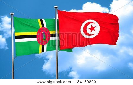 Dominica flag with Tunisia flag, 3D rendering