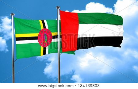 Dominica flag with UAE flag, 3D rendering