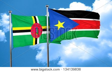 Dominica flag with South Sudan flag, 3D rendering