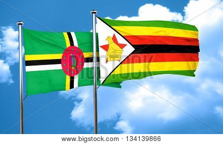 Dominica flag with Zimbabwe flag, 3D rendering