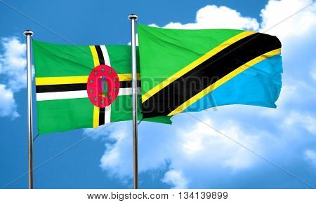Dominica flag with Tanzania flag, 3D rendering