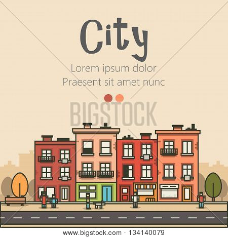Flat design modern urban landscape and city life background. Building, people, trees and road. Vector illustration