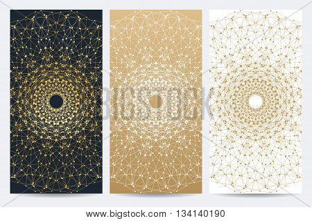 Modern set of vector flyers. Molecule and communication background. Geometric abstract round golden forms. Connected line with dots. Graphic composition for medicine, science, technology, chemistry