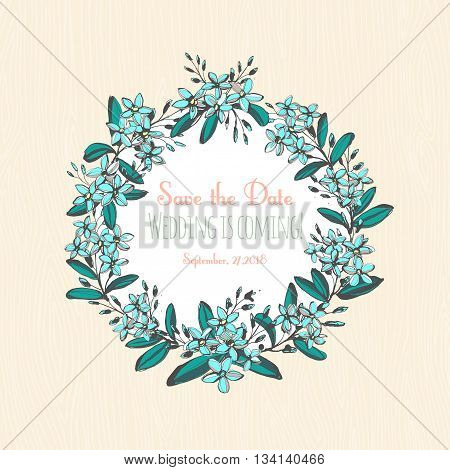 Vector illustration Forget-me-not blue flowers hand drawn bouquets round frame border