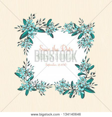 Vector illustration Forget-me-not blue flowers hand drawn bouquets square frame border