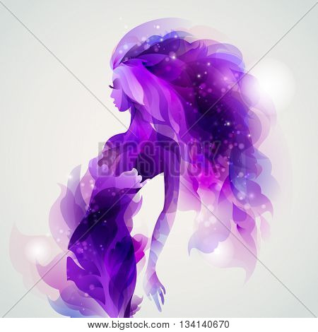 abstract purple decorative composition with girl