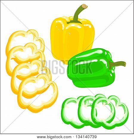 Colorful vector illustration of bell papper on a white background. Chopped yellow and red bell pepper.
