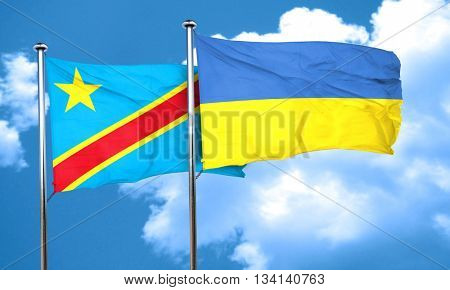 Democratic republic of the congo flag with Ukraine flag, 3D rend
