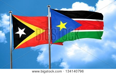 east timor flag with South Sudan flag, 3D rendering