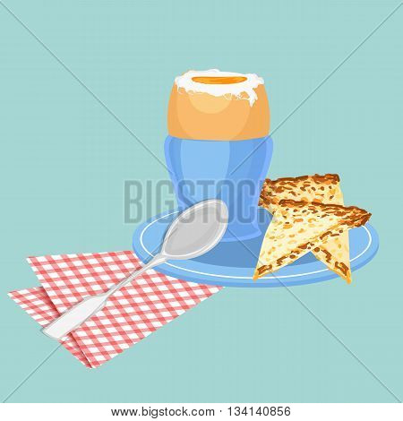 Vector coloful illustration of boiled egg on stand with a spoon and toast isolated on blue background