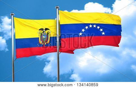 Ecuador flag with Venezuela flag, 3D rendering
