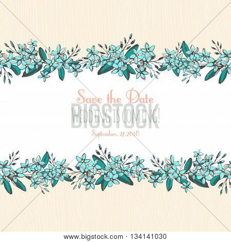 Vector illustration Forget-me-not blue flowers hand drawn bouquets horizontal frame border