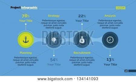 Editable presentation slide template of process chart with four connected elements in form of circles with icons, one highlighted element, sample text, titles, multicolored version