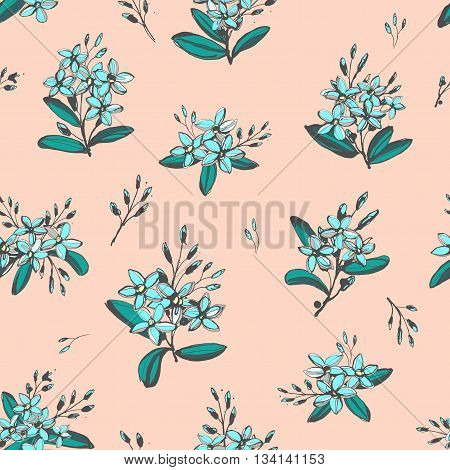 Vector illustration Forget-me-not blue flowers bouquets seamless hand drawn pattern