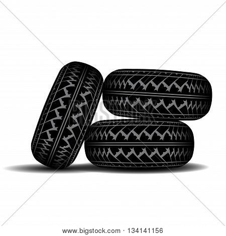 Three truck tire tracks isolated on white background with shadow
