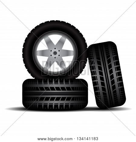 Three car wheels with tire tracks isolated on white background
