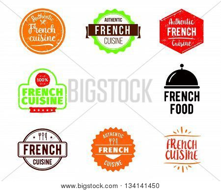 French cuisine, authentic traditional food typographic design set. Vector logo, label, tag or badge for restaurant and menu. Isolated.