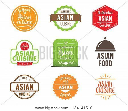 Asian cuisine, authentic traditional food typographic design set. Vector logo, label, tag or badge for restaurant and menu. Isolated.