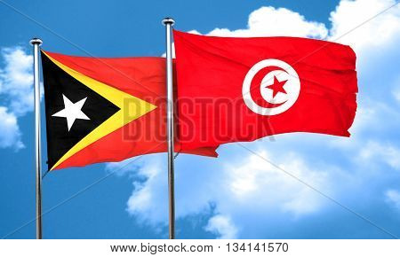 east timor flag with Tunisia flag, 3D rendering