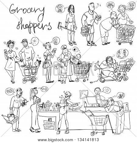 Set of grocery shoppers, hand sketching isolated