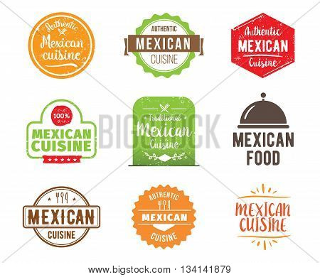 Mexican cuisine, authentic traditional food typographic design set. Vector logo, label, tag or badge for restaurant and menu. Isolated.
