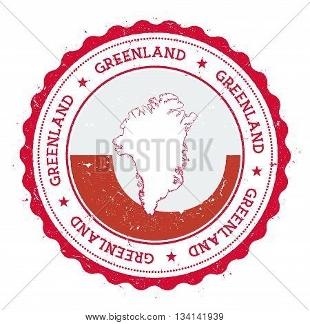 Greenland Map And Flag In Vintage Rubber Stamp Of State Colours. Grungy Travel Stamp With Map And Fl