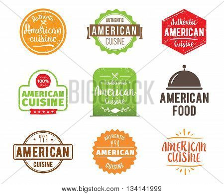 American cuisine, authentic traditional food typographic design set. Vector logo, label, tag or badge for restaurant and menu. Isolated.