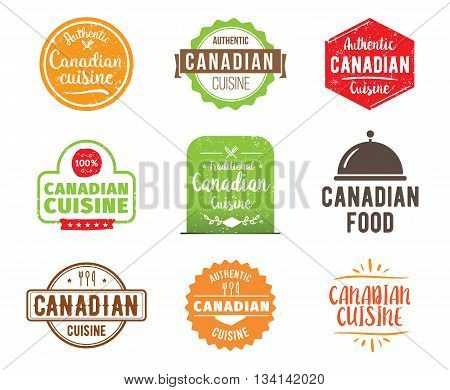 Canadian cuisine, authentic traditional food typographic design set. Vector logo, label, tag or badge for restaurant and menu. Isolated.