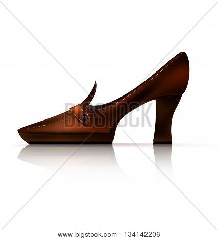 white background and the brown ladys shoe