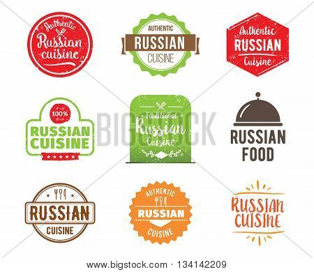 Russia cuisine, authentic traditional food typographic design set. Vector logo, label, tag or badge for restaurant and menu. Isolated.
