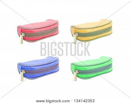 Closeup color small bag bag for keep cosmetics isolated on white background