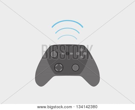 Wireless game controller flat style with blue wifi waves
