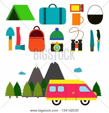 Hitchhiking. Vector illustration Motorhome and set of objects for hitchhiking. Tools and objects for hitchhiking. Flat design