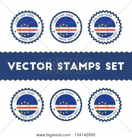 I Love Cape Verde Vector Stamps Set. Retro Patriotic Country Flag Badges. National Flags Vintage Rou