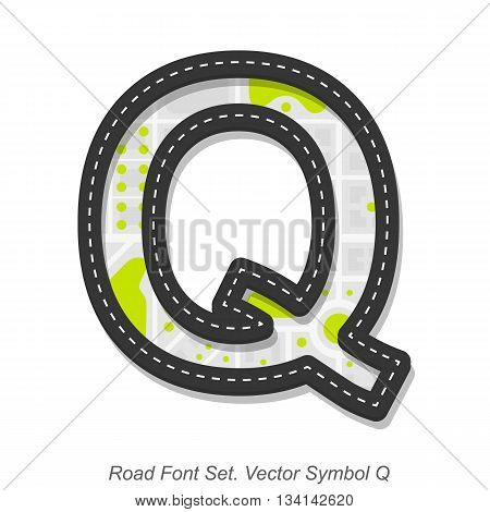Road font sign, Symbol Q, Object on a white background, Vector illustration