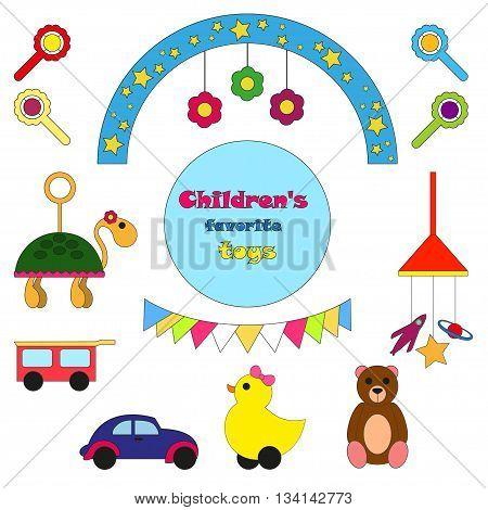 Children's toys. Vector illustration Set of children's toys. Children's toys cartoon style