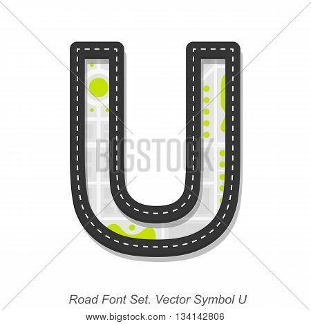 Road font sign, Symbol U, Object on a white background, Vector illustration