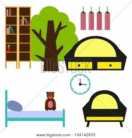 Nursery room. Vector illustration Set of furniture for nursery room. Nursery room flat design