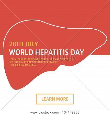 World hepatitis day flat design medical card, web background design.