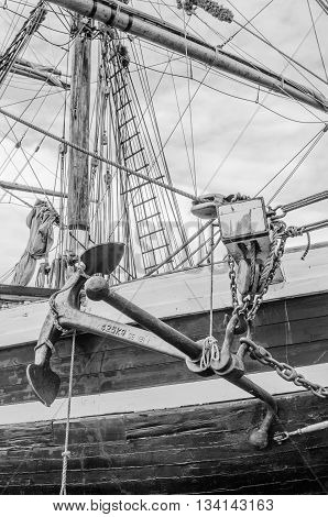 Anchor and rigging of an old sailboat close-up