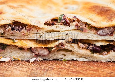 Cutting Bean Filled Pie (lobiani) Close Up