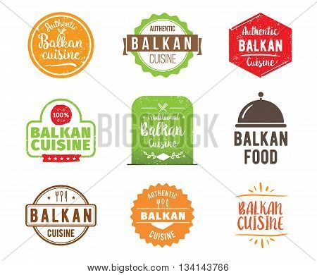 Balkan cuisine, authentic traditional food typographic design set. Vector logo, label, tag or badge for restaurant and menu. Isolated.