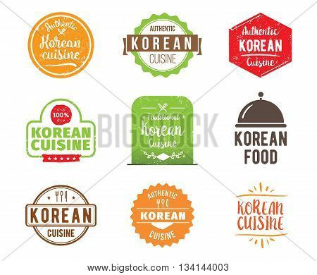Korean cuisine, authentic traditional food typographic design set. Vector logo, label, tag or badge for restaurant and menu. Isolated.