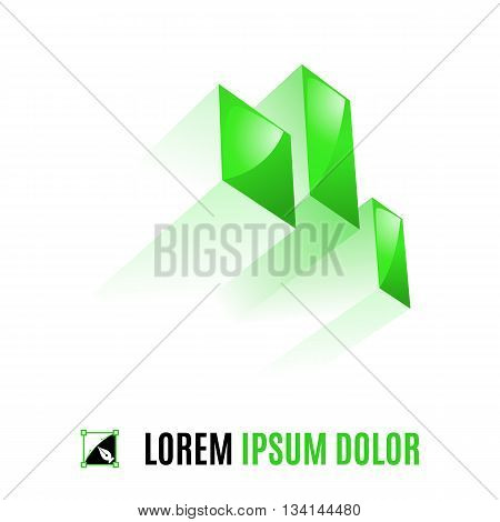 Green element from three geometric figures in space on the white background