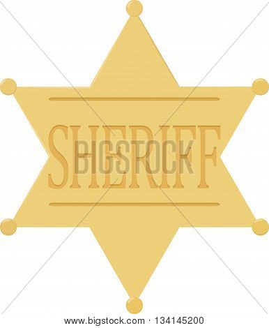 Yellow sheriff badge star icon isolated on white