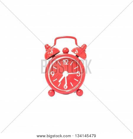 Closeup red alarm clock display seven hours and fifteen minutes on screen clock isolated on white background with clipping path