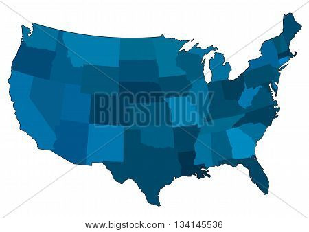 Blue Drawing map of USA. Vector Illustration.