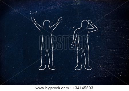man happily lifting his hands up in the air while another man is bending his head down in sadness or doubt